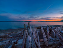Sunset on the rocky beach in Sidney,  Vancouver Island, British Royalty Free Stock Images