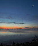 Sunset on the rocky beach in Sidney,  Vancouver Island, British Royalty Free Stock Photo