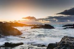 Sunset at rocky coast of Tenerife Stock Images