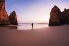 Sunset at rocky coastline of Atlantic ocean Royalty Free Stock Photos