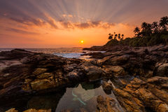 Sunset on the rocky shore Stock Images