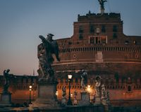 Sunset in roma on tevere. Winter sunset in rome Royalty Free Stock Image
