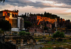 Sunset of Roman ruins Stock Images