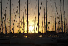 Sunset on the Rome harbor Royalty Free Stock Photo