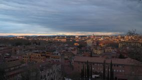 Sunset in Rome. Top view of the roofs in the historic area of Rome. Italy stock video