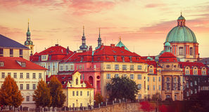 Sunset roof house old city autumn Prague Stock Image