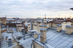 Sunset is on the roofs. This picture was taken on the St.Petersburg roofs Stock Image