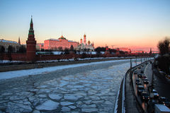Sunset rose Kremlin and iced Moscow river Royalty Free Stock Photography