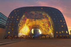 Sunset at Rotterdam Market Hall. Sunset at Market Hall, Markthal in Dutch with it colorful and fruity ceiling in Rotterdam, Netherlands royalty free stock image