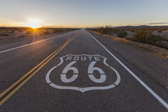 Sunset on Route 66. In the California Mojave Desert Stock Photos