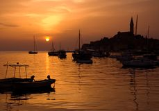 Sunset in Rovinj stock photography