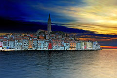 Sunset at Rovinj, beautiful old town in Istria Stock Photo