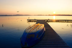 Sunset with Rowboat Stock Photography