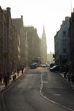 Sunset from the Royal Mile's Canongate section in Edinburgh, Sco Stock Photo