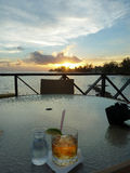 Sunset with Rum and Tonic Royalty Free Stock Photo