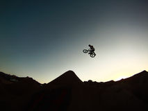 Sunset Run. Tuttles BMX Trails, Perris CA, Sunset Riding Royalty Free Stock Photography