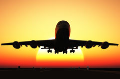 Sunset on the runway. Stock Photography