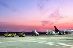Sunset on a runway. Pink airstrip and a sunset Stock Image