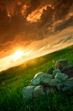 Sunset. In a rural area in Romania with a gradual filter Royalty Free Stock Photography