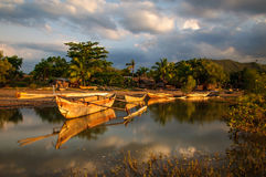 Sunset on a rural fishermen village. In Northern Madagascar Stock Photography
