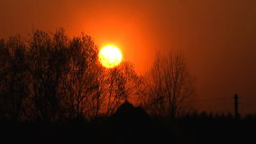 Sunset. Rural spring sunset, time lapse clip stock footage