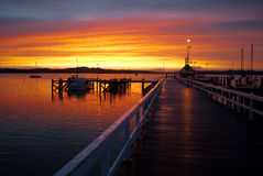 Sunset at Russell, New Zealand wharf royalty free stock photography