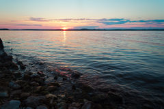 Sunset. On the Russia river Volga Stock Image