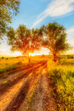Sunset in russian countryside Royalty Free Stock Photography