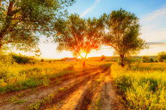Sunset in russian countryside Stock Image