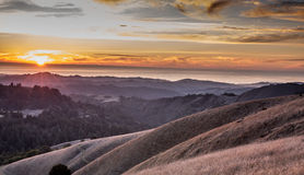 Sunset at Russian Ridge Open Space Preserve, San Mateo County Royalty Free Stock Photo