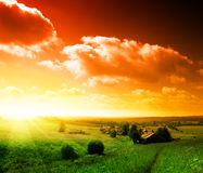 Sunset in Russian village Royalty Free Stock Photography