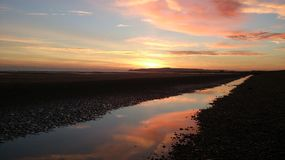 Sunset at Rye Harbour Nature Reserve Stock Photography