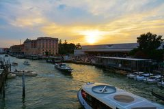 Sunset and S. Lucia train station, Venice, Italy Stock Image