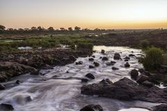 Sunset in Sabie river in Kruger National park, South Africa. Long exposure during sunset in Sabie river in Kruger national park, South Africa Royalty Free Stock Photos