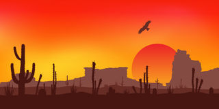 Sunset with Saguaro Cactus. Desert. Vector. Royalty Free Stock Photo