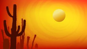 Sunset with Saguaro Cactus. Summer Vector background in 16:9 aspect ratio. Sunset with Saguaro Cactus. Summer Vector background in 16:9 aspect ratio stock illustration