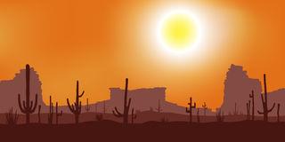Sunset with Saguaro Cactus.  Vector background. Royalty Free Stock Photo