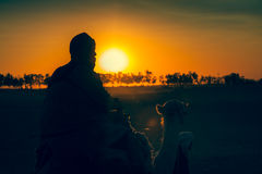 Sunset in the Sahara desert - Douz, Tunisia. Royalty Free Stock Image