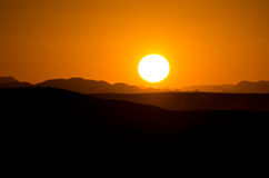 Sunset on Sahara desert Royalty Free Stock Image