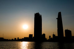 Sunset in Saigon with Bitexco tower silhouette, Vietnam Stock Photo