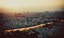 Sunset in Saigon, Ho Chi Minh City, Vietnam with the cityview stock photography