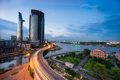 Sunset in Saigon, Vietnam. The most develop city in Vietnam, center of business and economic Royalty Free Stock Image