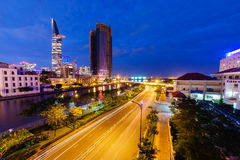 Sunset in Saigon, Vietnam. The most develop city in Vietnam, center of business and economic Royalty Free Stock Photos