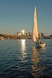 Sunset Sail. Sailing into the sunset on Lake Union at Seattle, WA Royalty Free Stock Images