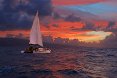 Sunset Sail. A catamaran sails the ocean at sunset stock photos