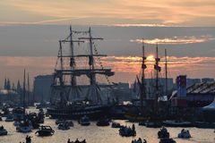 Sunset at Sail 2015 in the port of Amsterdam Royalty Free Stock Images