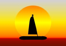 Sunset Sailboat. An illustration of a sailboat in a sunset Stock Image