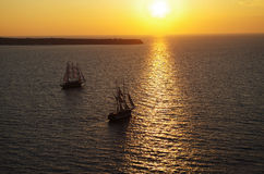 Sunset. The sailboat in beautiful sunset Royalty Free Stock Photo