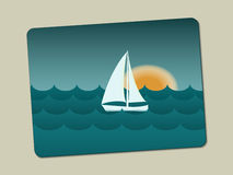 Sunset, sailboat and sea with waves. Stylistic image on the business card is lying with a slope Royalty Free Stock Image