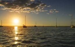 Sunset and sailboats La Paz harbor in Baja California Sur Mexico Royalty Free Stock Photography